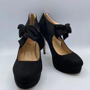 FSJ Round Toe Platform Stilettos Ankle Strap Bow